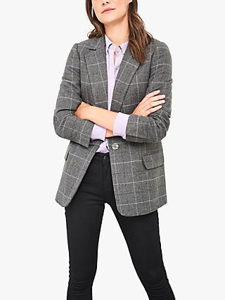 White Stuff Dewberry Check Blazer, Grey/Multi