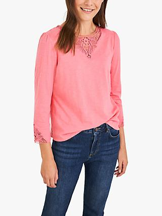 White Stuff Cinnamon Lace Detail Tee, Bright Pink