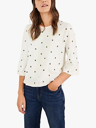 White Stuff Spot Embellished Tee, Ivory/Multi