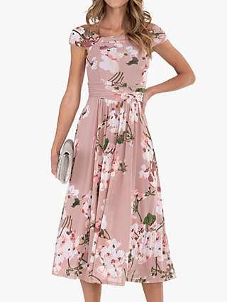 Jolie Moi Bardot Floral Midi Dress, Pink