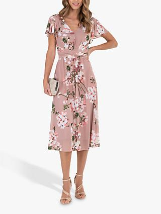 Jolie Moi Fit and Flare Floral Print Midi Dress, Pink
