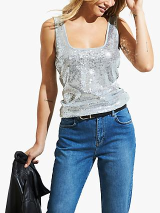 Sosandar Sequin Embellished Vest Top, Silver