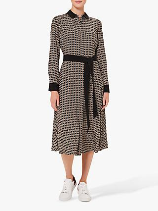 Hobbs Petite Alison Geometric Print Midi Dress, Multi