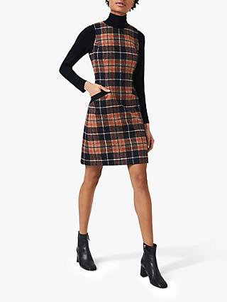 Hobbs Petite Nicola Check Wool Dress, Orange Camel