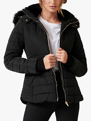 Forever New Lisa Short Puffa Jacket, Black