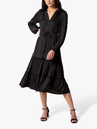 Forever New Stacey Trim Tiered Midi Dress, Black