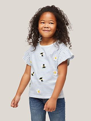 John Lewis & Partners Kids' Sequin Bumblebee Stripe T-Shirt, Blue