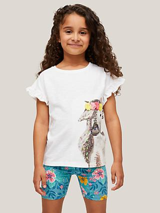 John Lewis & Partners Kids' Horse Graphic Frill Sleeve T-Shirt, Cream