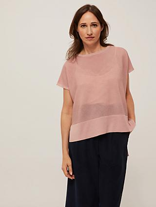 Modern Rarity Rib Knit T-Shirt, Pink