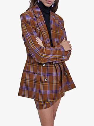 French Connection Immy Check Blazer, Brown/Multi