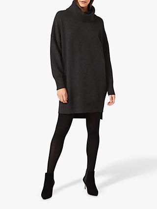 Phase Eight Palmer Cowl Neck Jumper Dress, Charcoal
