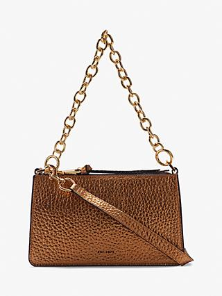 Jigsaw Burford Metallic Leather Cross Body Bag, Gold