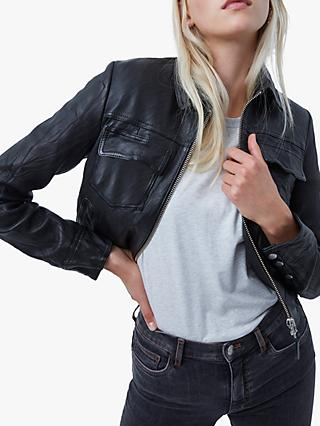 French Connection Rada Slim Leather Jacket, Black