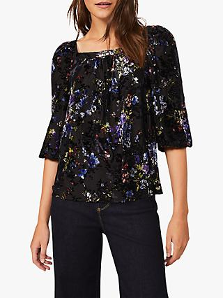 Phase Eight Alisa Square Floral Top, Black