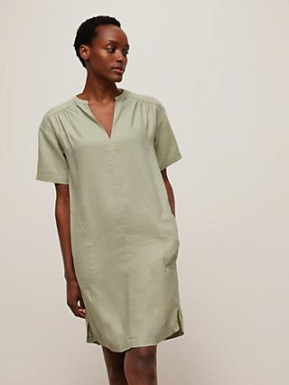 John Lewis & Partners Linen Smock Dress, Light Khaki