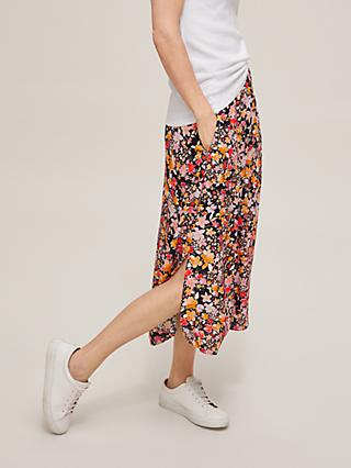 John Lewis & Partners Watercolour Floral Print A-Line Midi Skirt, Watercolour Floral