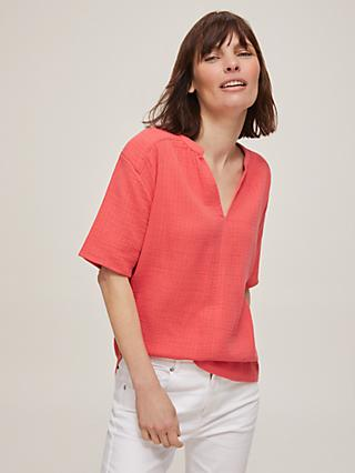 John Lewis & Partners Cotton Open Neck Top