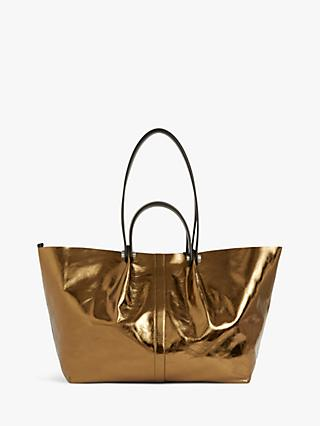 AllSaints Allington Leather East West Tote Bag, Gold