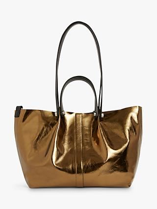 AllSaints Allington Small Leather East West Tote Bag, Gold
