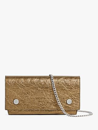 AllSaints Albert Metallic Leather Wallet, Gold