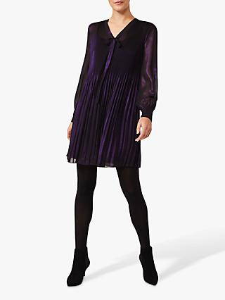 Phase Eight Lyra Metallic Plisse Dress, Purple