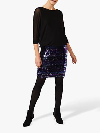 Phase Eight Geonna Stripe Sequin Skirt Knit Dress, Cobalt