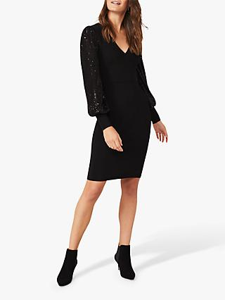 Phase Eight Glynis Embellished Balloon Sleeve Dress, Black