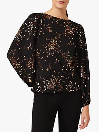 Phase Eight Jacinta Foil Floral Top, Black/Gold