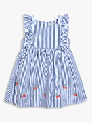 John Lewis & Partners Baby Ticking Stripe Cherry Embroidered Dress, Light Blue