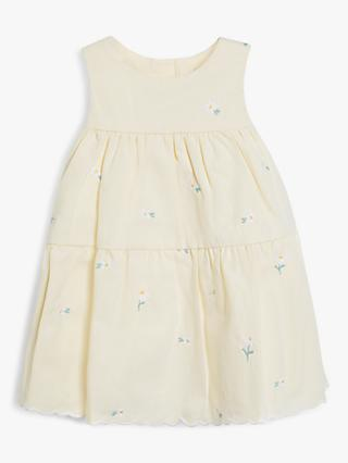 John Lewis & Partners Baby Ticking Stripe Daisy Embroidered Dress, Yellow