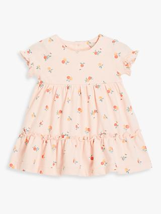 John Lewis & Partners Baby Peach Tiered Dress, Pink