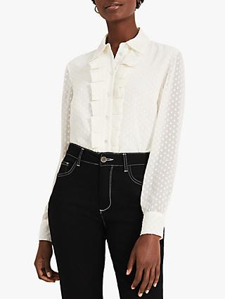 Damsel in a Dress Elma Spot Print Blouse, Ivory
