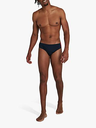 Speedo Boom Logo Splice Swim Briefs, True Navy/Dragonfire Orange