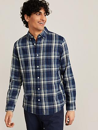 John Lewis & Partners Linen Cotton Check Slim Fit Shirt, Indigo