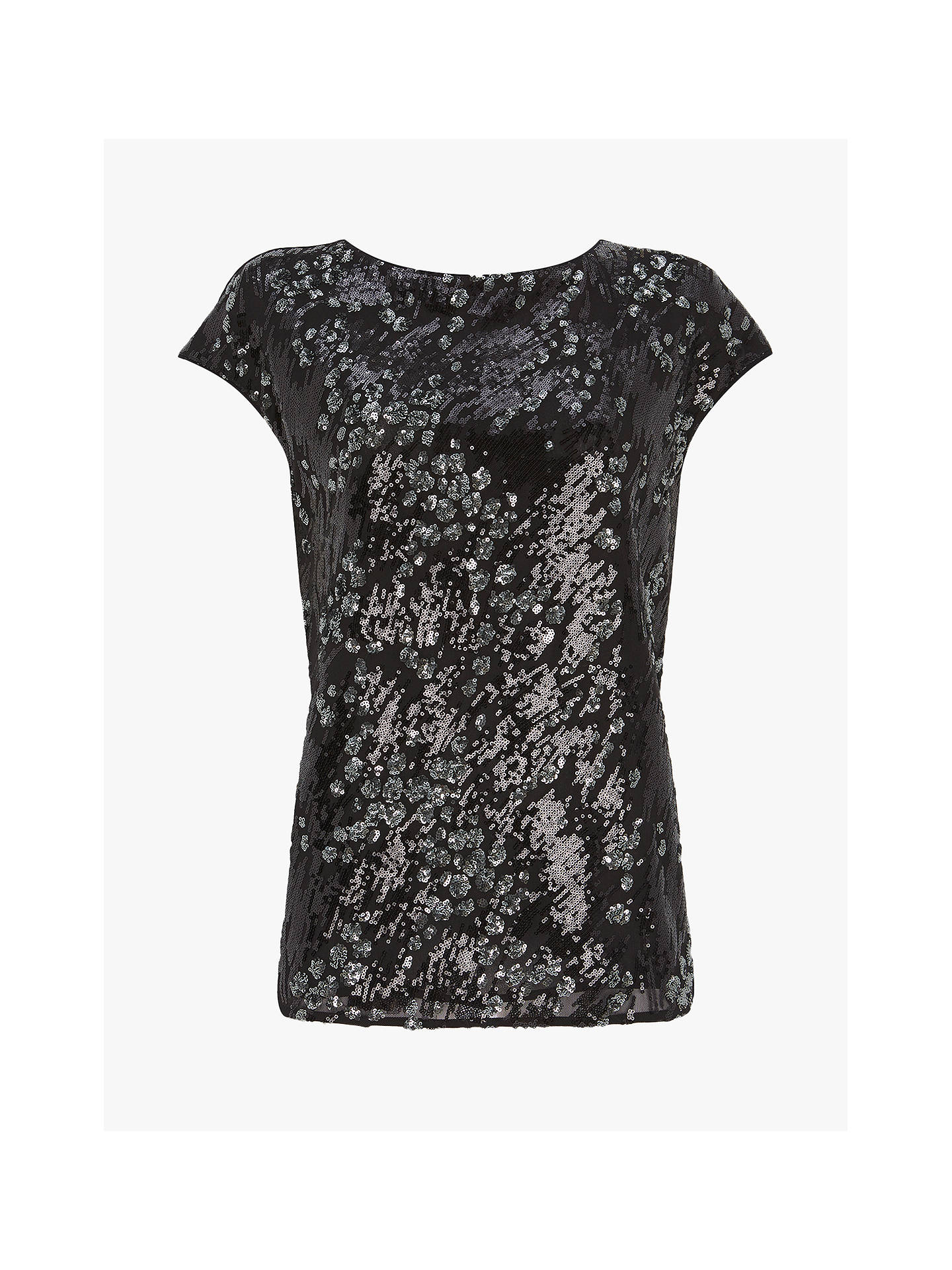 Buy Mint Velvet Animal Embellished Short Sleeved Top, Black, 14 Online at johnlewis.com