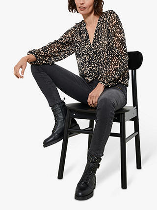 Buy Mint Velvet Rosale Abstract Spot Print Blouse, Black, XL Online at johnlewis.com