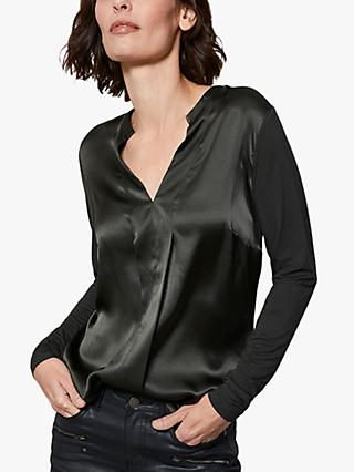 Mint Velvet Silk Satin Front Top, Khaki Green