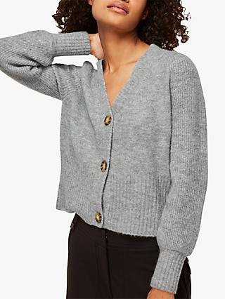 Whistles Full Sleeve Knitted Cardigan, Grey