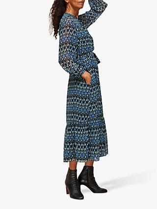 Whistles Ikat Diamond Trapeze Dress, Blue/Multi