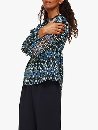 Whistles Diamond Ikat Print Blouse, Blue/Multi