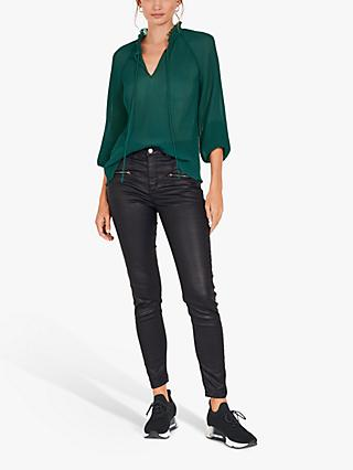 hush Brigette Tie Neck Blouse, Pine Green