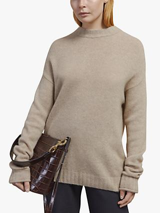 Jigsaw Cashmere Crew Neck Jumper, Pebble Melange