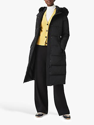Hobbs Libby Detachable Faux Fur Hood Puffer Coat, Black