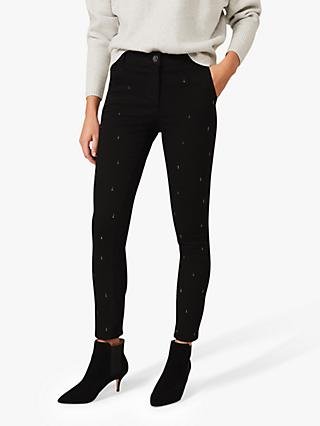Phase Eight Tear Drop Embellished Jeans, Black