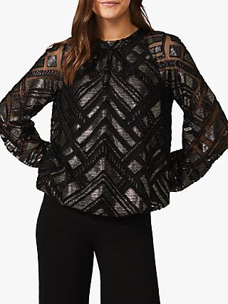 Phase Eight Cassidy Chevron Blouse, Black