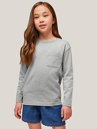 John Lewis & Partners Kids' Chest Pocket Long Sleeve T-Shirt