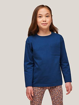 John Lewis & Partners Kids' Patch Pocket Long Sleeve Top, Navy