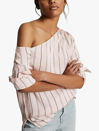 Reiss Maeve One Shoulder Stripe Top, Neutral