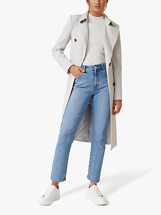 Forever New Tessa Mini Check Trench Coat, Grey/White