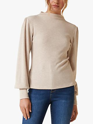 Forever New Nova Relaxed Balloon Sleeve Top, Oatmeal